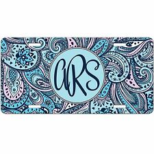 Blue Paisley Personalized Monogrammed License Plate Car Tag Initials Custom 9254