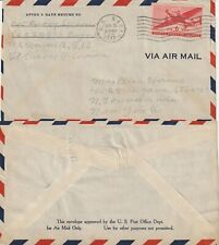 US 1944 US NAVY WARTIME FLIGHT FLOWN AIR MAIL COVER St PIERRE FLA TO NEW YORK NY