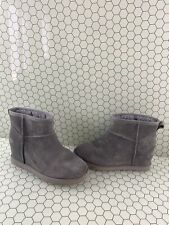 UGG Classic Femme Mini Gray Suede Fur Lined Pull On Wedge Boots Women's Size 8.5