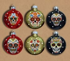 Sugar Skulls Decorated Glass Christmas Ornaments - Set of 6