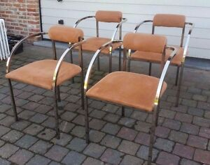 SET OF FOUR MAISON JANSEN CHAIRS MESSING FRAMES SUEDE PINK MID CENTURY FRANCE