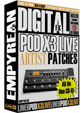Line 6 POD X3 LIVE Artist Patches Guitar Effects Presets Settings Windows Mac