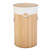 Barrel Bamboo Wood color Laundry Hampers Folding Basket Body with large Lid