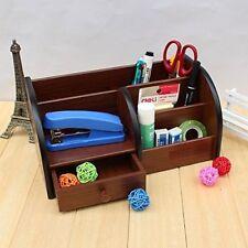 Big Pen Stand Office Stationery Wooden Mobile Holder DESK ORGANIZER