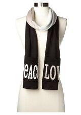 Jonathon Adler Peace Love Pocket Knit Muffler Scarf - Black/White/Oatmeal OS