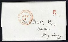 US 1845 WASHINGTON DC 5 IN RED ON BANK OF METROPOLIS LETTER HEAD TO MAGERSTOWN