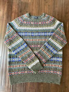 J Crew Men's Fair Isle Aberdeen Lambs Wool Sweater Large
