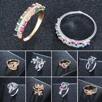 Damen Regenbogen Bunt Kristall Strass Ring Ehering Zirkon Ringe Hochzeit Ring