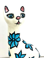 "Vtg Calif. USA Pottery Long Neck Cat Flower Power Mod Figure 11"" Signed Hand Pai"