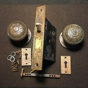Antique Russel & Erwin Mortise Lock & Key Door Knobs Rosettes & Keyhole Covers