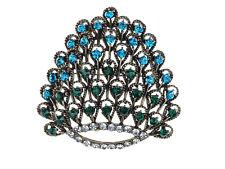 Needle Crystal Diamond Brooch Big Elegant Colorful Peacock Feather Detail