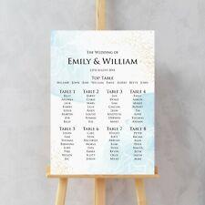 Wedding Seating Table Plan, Watercolour Blue Gold effect, Reception Seating Plan
