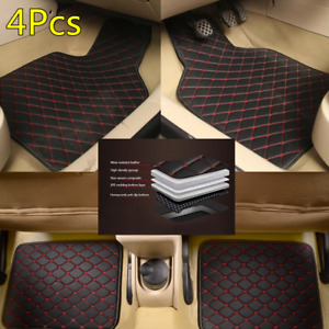 New PU Leather Car All Weather Floor Mat Carpet Protect Pad Waterproof 4X Black