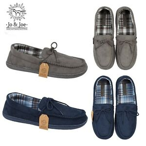 Mens Moccasin Slippers Loafers Faux Suede Hard Sole Shoes Sizes 7 8 9 10 11 12