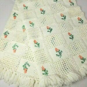 Crochet Afghan Handmade Vintage Needlepoint Floral Throw Blanket White 42x59