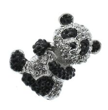 Rhinestone Pin Brooch Broach or Pendant Teddy Bear Panda Black and Silver