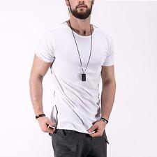Mens T-Shirt Oversized Long Slim Fit Basic Cotton Side Zipper Free Shipping 2904