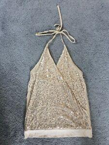 Gold Sequin Halter Neck Top Size 8