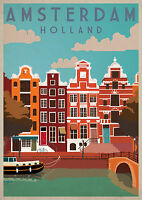 AMSTERDAM Vintage Travel Poster Home Wall Art Print A4,A3,A2,A1