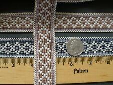 28Mm Diamond pattern jacquard ribbon Black or Brown & natural tribal 5yds cotton