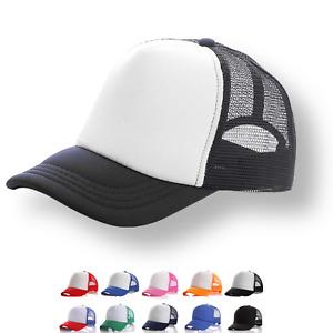 Plain Trucker Hat Cap - Unisex Adjustable Mesh Baseball - Various Colours DS1035