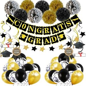 Graduation Decorations, Black Gold 2021 Graduation Party Supplies Set Congrats