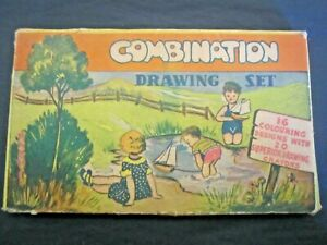 Collectable - Vintage CRAYON Set & Colouring Book - approx. 80 years old!