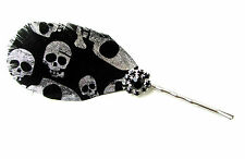 Noir Argent Imprimé Tête De Mort Pince À Cheveux Plume Courses Bandeau De Bibi