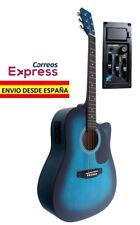 Guitarra Electro Acustica Azul. Nueva. Electroacustica Amplificada Con Previo EQ