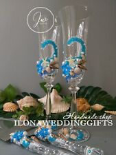 Personalized Wedding Toast Swarovski Glass Bling Beach Ocean Turquoise Romantic