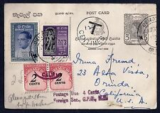 CEYLON SRI LANKA 1961 QUEEN ELIZABETH POSTAL CARD WITH POSTAGE DUES ADDED 12T IN