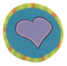 Fimo Clay Button, Colorful Heart, Blue Moon Button Art