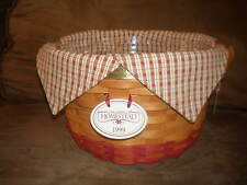 Longaberger 1999 Collector's Club Homestead Basket Set with Lid & Tie-On