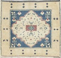 Vintage Geometric Tribal Muted Oushak Turkish Hand-Knotted 2'x2' Square Wool Rug