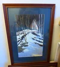 WATER COLOUR  by prolific artist signed - large painting wood framed! SNOW SCENE