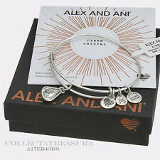 Authentic Alex and Ani Teardrop April Birthstone Rafaelian Silver Bangle