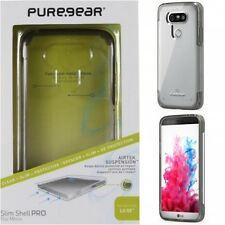 PureGear LG G5 Slim Shell Pro Case Cover CLEAR W/ Light Gray Trim