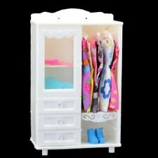 Luxury Wardrobe Closet Doll Accessories Furniture Girls Gift White