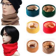 Men Women Winter Warm Knitted Ring Scarves Thick Fleece Knit Neck Warmer Scarf #