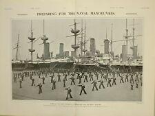 1903 PRINT SAILORS IN RESERVE CUTLASS DRILL PREPARING NAVAL MANOEUVRES