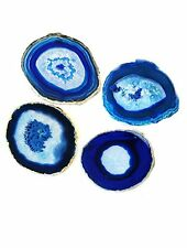 Agate Coaster Cup Mat Dyed Sliced Beverage Coasters Drinks Gift Set 4 Blue Decor