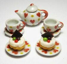 Dollhouse Miniature White Ceramic Tea Set & Food * Doll Mini Cup Teapot Cakes