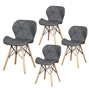 Set of 4 Eiffel Dining Chairs Retro Wooden Legs Faux Leather Padded Seat Grey