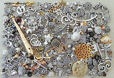 1/4 Lb Lot Pound Silver Gold Bulk Mix Beads Jewelry Making Scrap Repair Findings