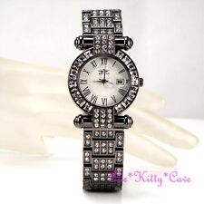Black Hematite Bling Ladies Classic Date Display Dress Watch w Swarovski Crystal
