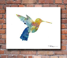 Humming Bird Abstract Watercolor Painting 11 x 14 Art Print by Artist DJ Rogers