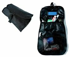 LARGE TRAVEL WASH BAG plain black shower kit pouch camping hiking holiday pack