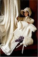 Baby  vintage shawl  matinee jacket and bonnet- Crochet pattern
