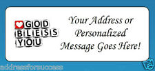 60 Personalized God Bless You Return Address Labels