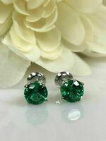 2.00 Ct Round Emerald Women's Stud Earrings 14k White Gold Finish